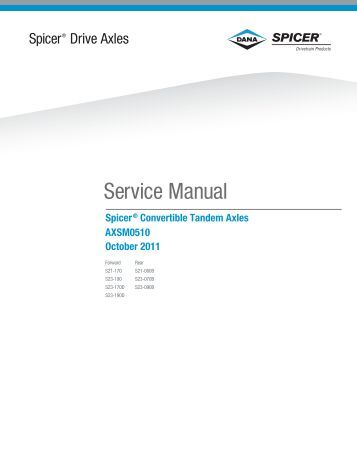 spicer rear axle service manual