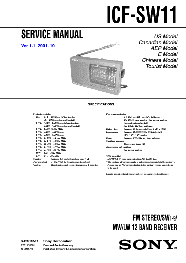sony srf m70 user manual