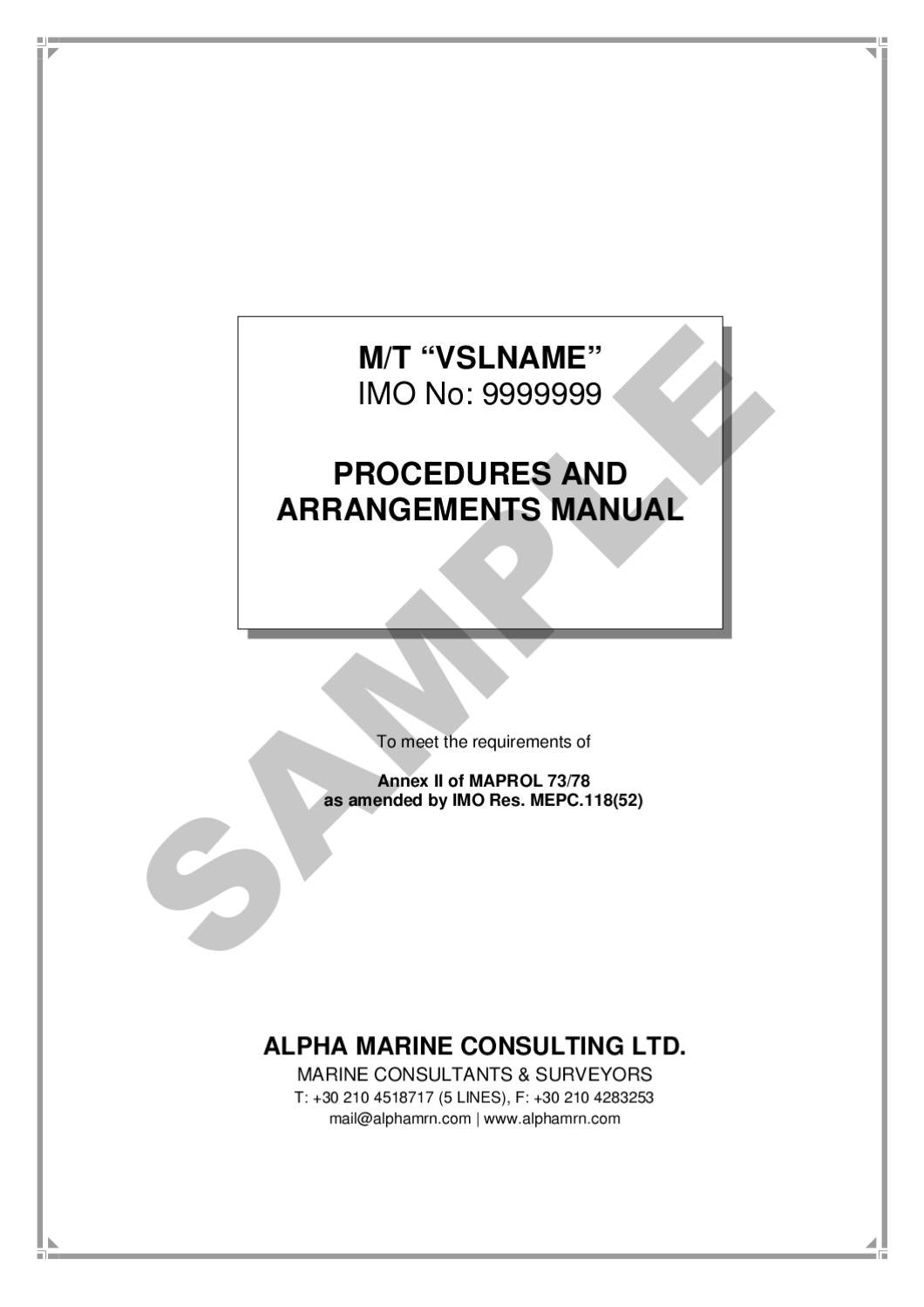 marpol annex 2 p&a manual