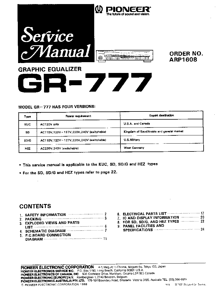 pioneer ct 777 service manual