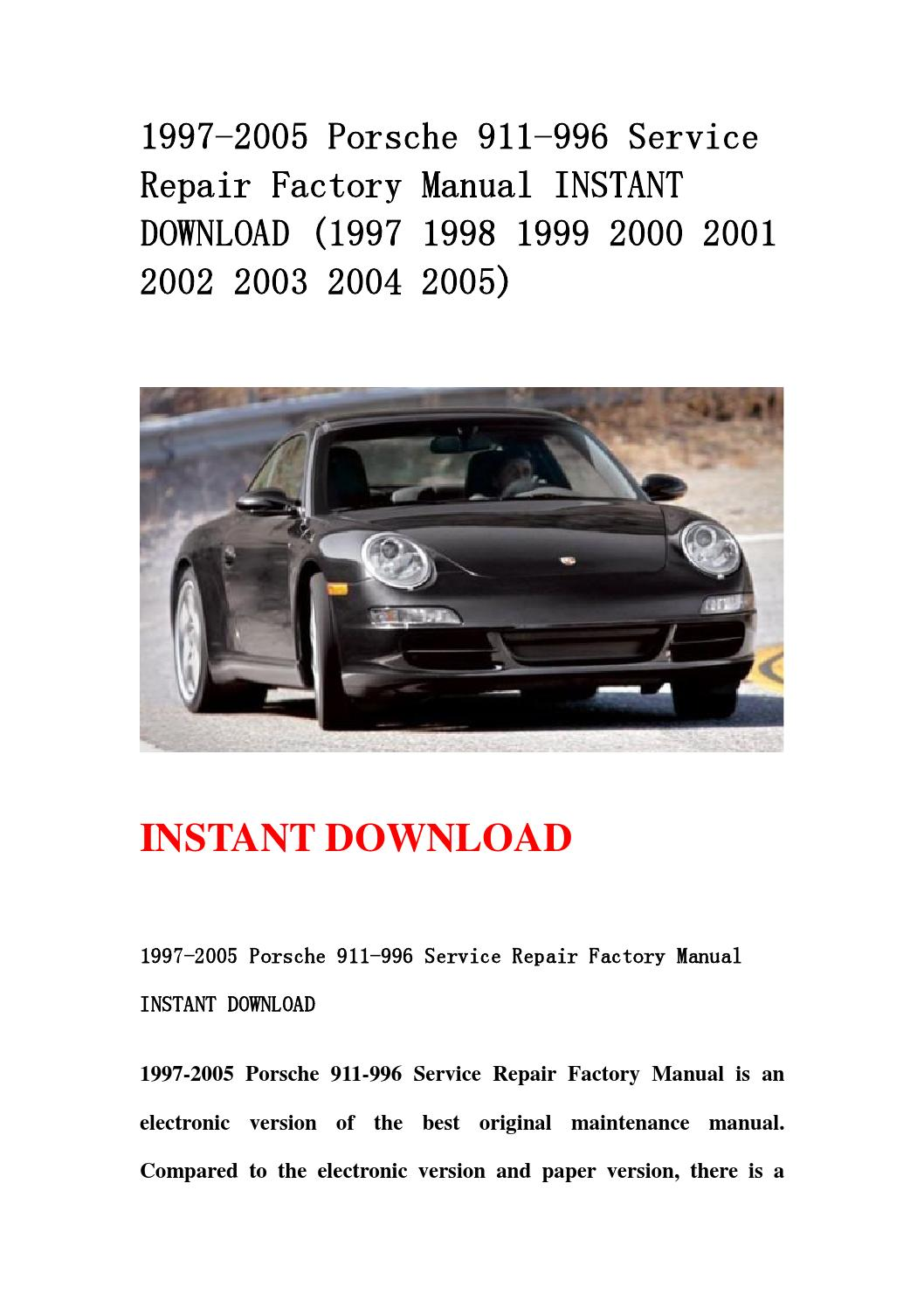 porsche 996 service manual download